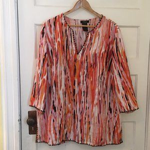 Style & Co orange striped linen blouse - size 18W